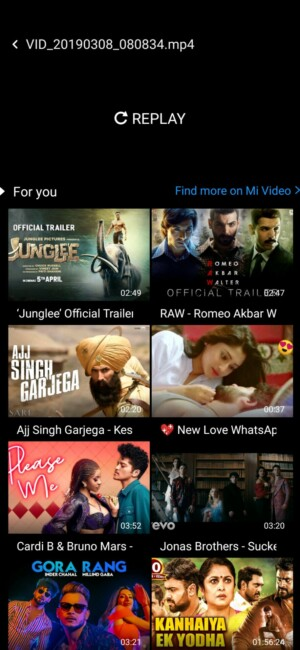 Screenshot of the Redmi Note 7 Pro video player.