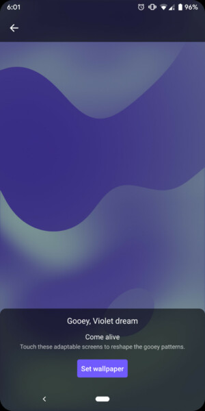 Screenshot of the Android Q wallpapers revamp