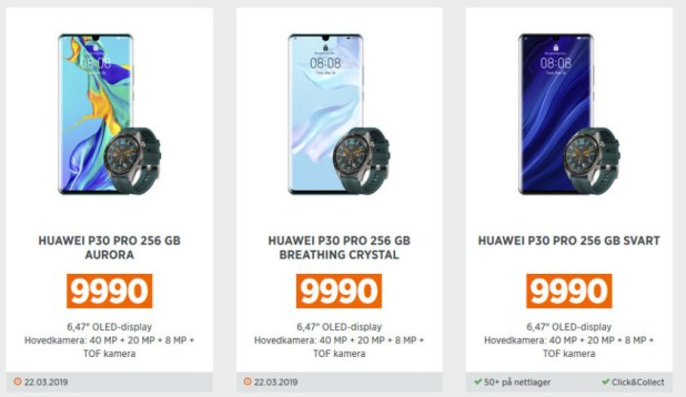 The Huawei P30 Pro on a Norwegian retailer's website.