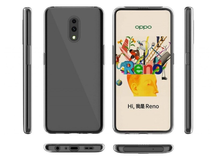An Oppo Reno render leak showing the six sides of the phone.