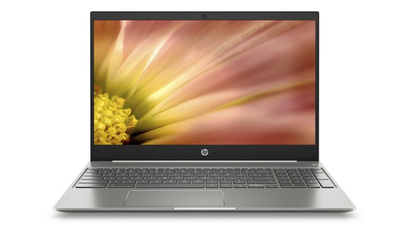 A promotional image of the HP Chromebook 15, HP's first 15-inch Chromebook.