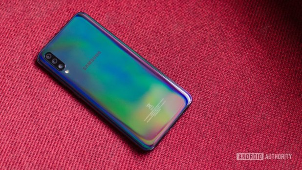 Samsung Galaxy A70 back showing gradient finish