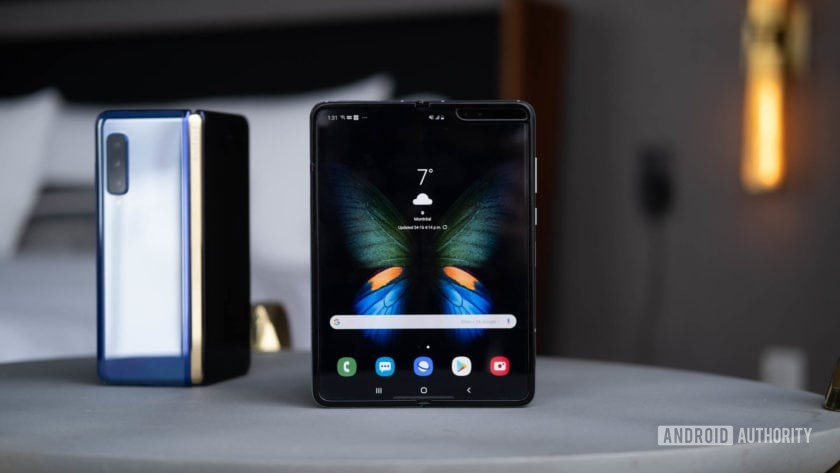 Samsung Galaxy Fold tablet mode on table