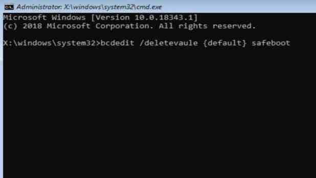 Windows 10 Safeboot delete value