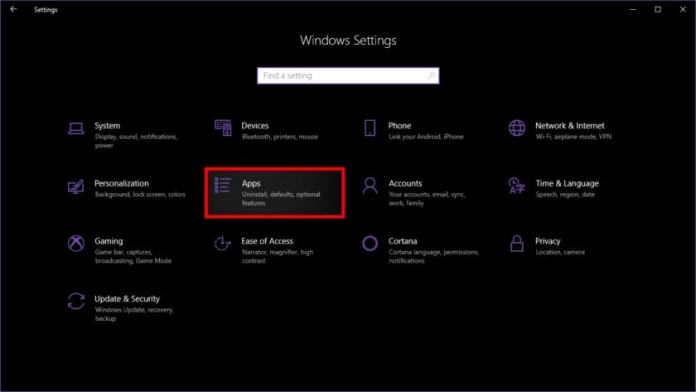 Windows 10 Settings Access Apps