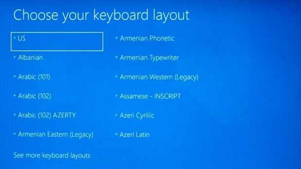 Windows 10 choose keyboard layout