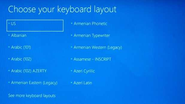 Windows 10 choose keyboard layout