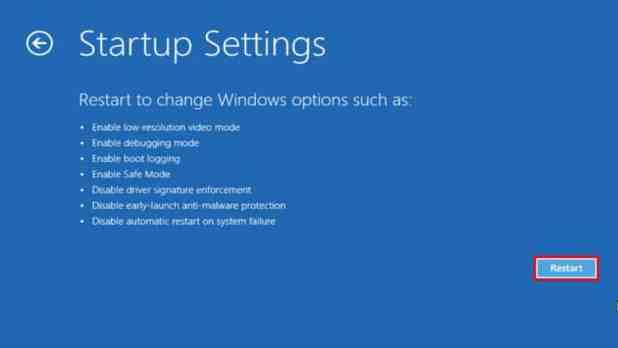 Windows 10 startup settings restart