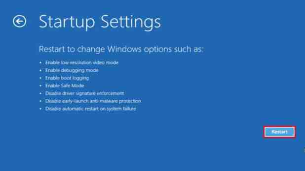 Windows 10 startup settings restart