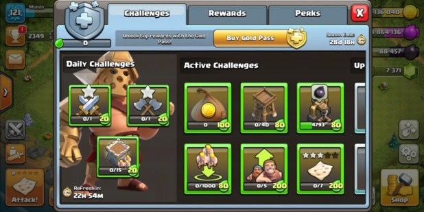 The clash of clans challenges screen screenshot.