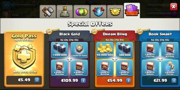 The clash of clans season pass rewards screen.