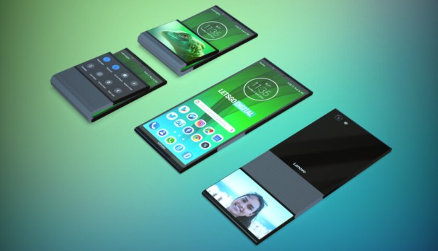 A render based on a Lenovo patent, showing a foldable phone.