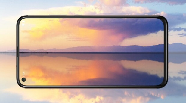 The Nokia X71 render horizontal against a sunset background.