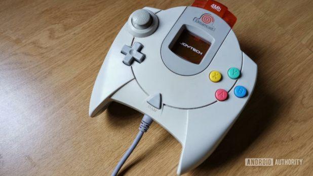 A Sega Dreamcast controller.