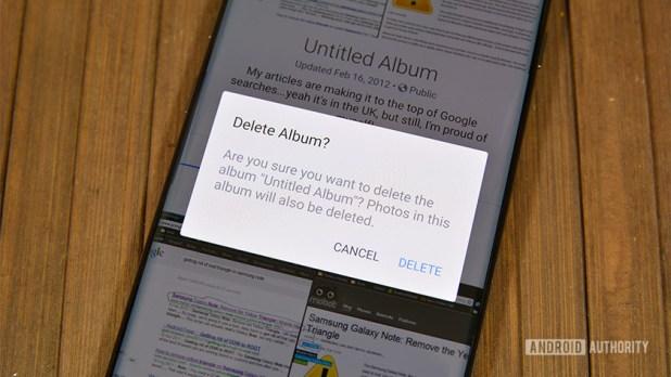 A photo of Facebook's album deletion prompt