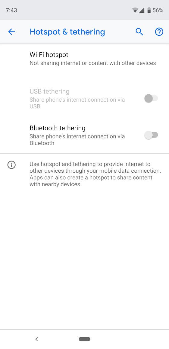 Настройки мобильной точки доступа на Android.