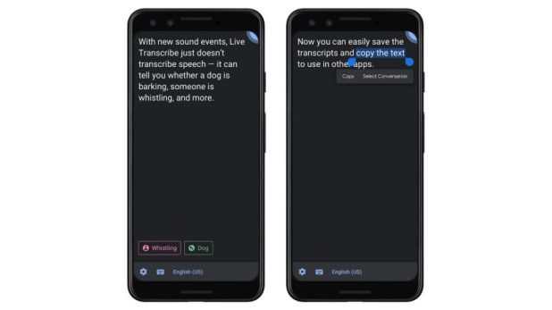 An official image of a new Live Transcribe feature which transcribes non-conversation sounds, like whistling and dogs barking.