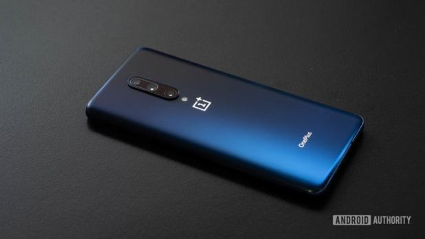 OnePlus 7 Pro phone angled on table back