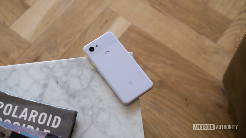 Pixel 3a face down on table