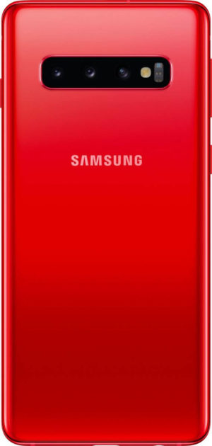 A leaked render of the Samsung Galaxy S10 in a new color known as Cardinal Red.