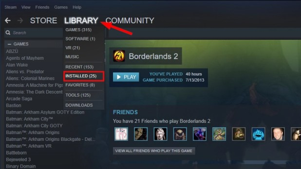 Steam Installed Games - How to uninstall games on Windows 10
