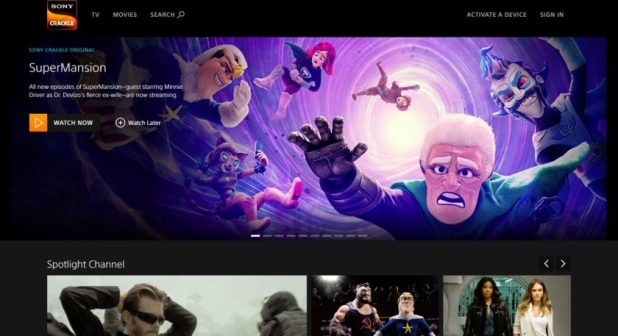 Sony Crackle main site