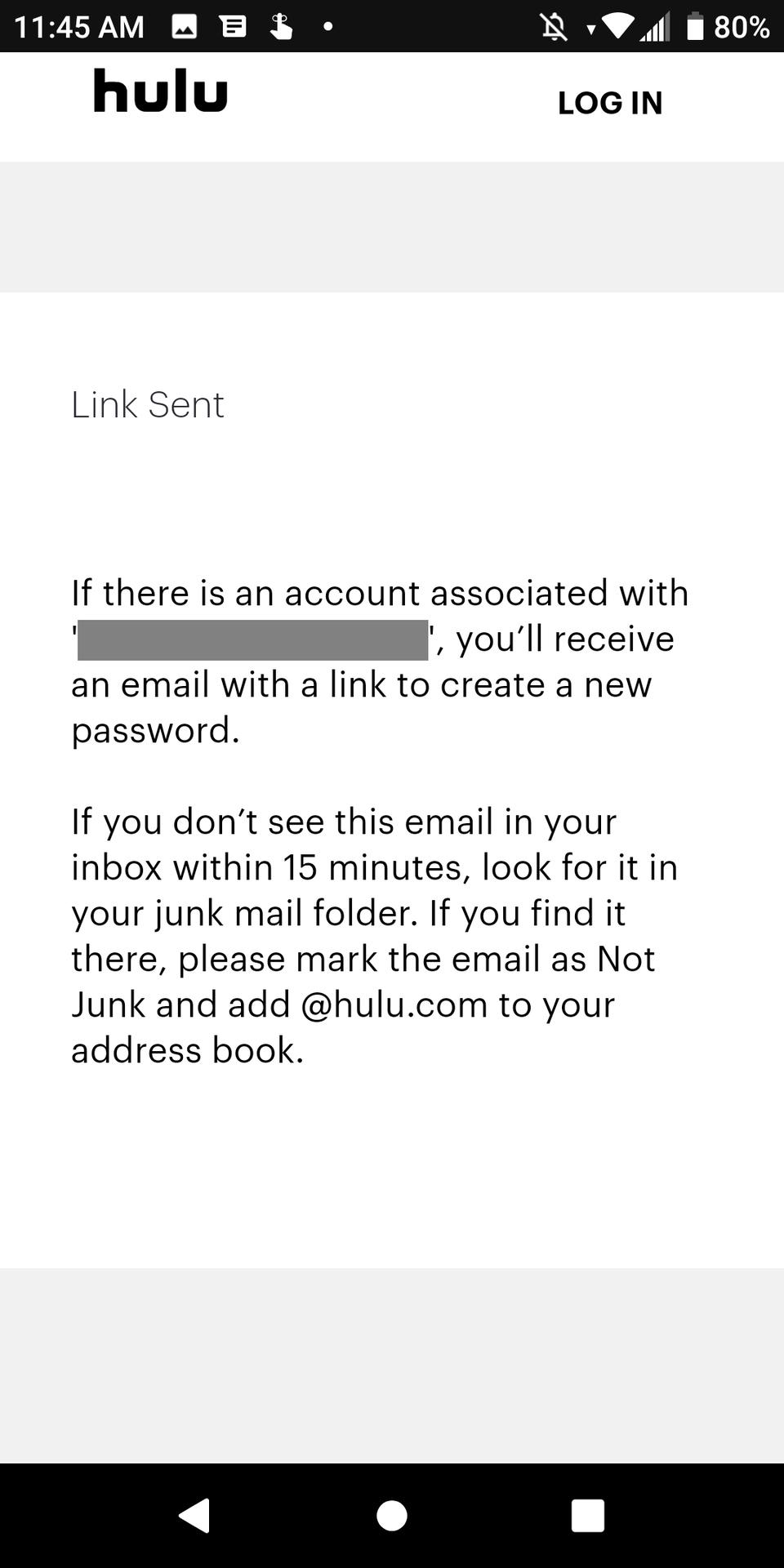 Ссылка на Hulu Android отправлена для смены пароля