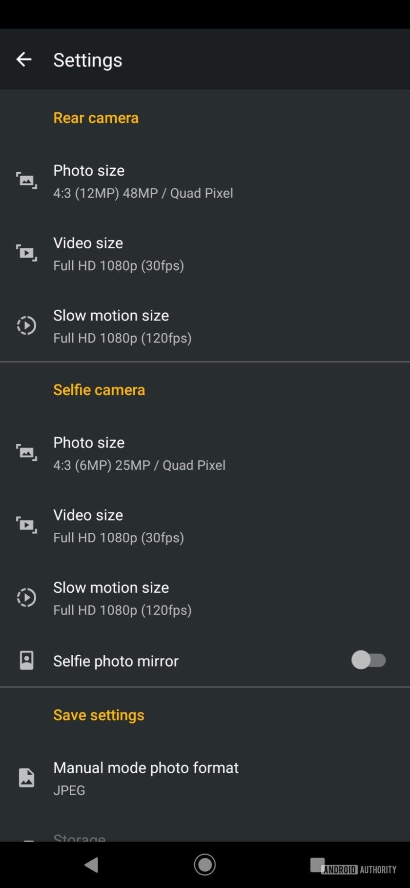 Motorola Moto Z4 camera app options
