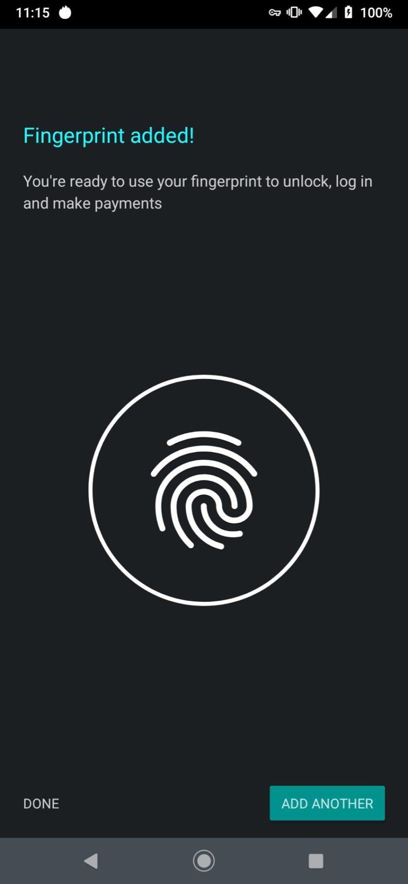 Motorola Moto Z4 fingerprint success