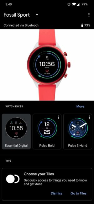 A screenshot of the Tiles manager function within the Wear OS smartphone app.