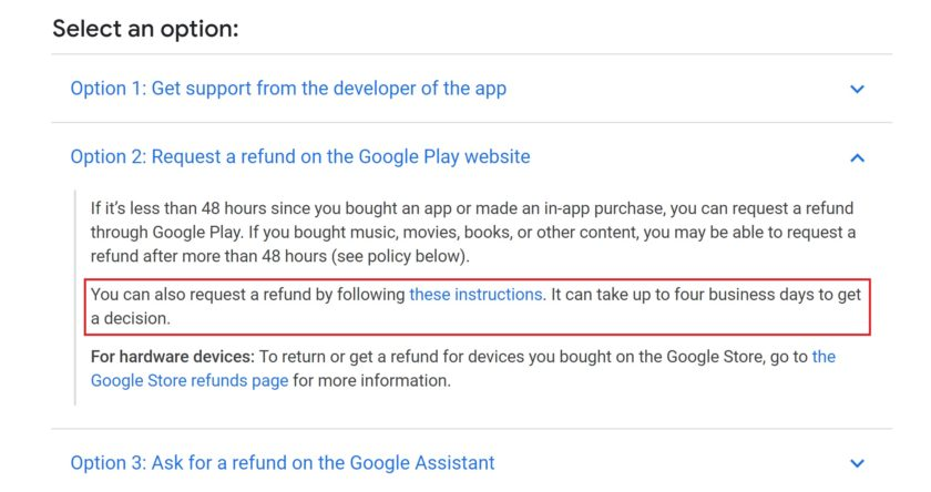 Google's Play Store refund policy.