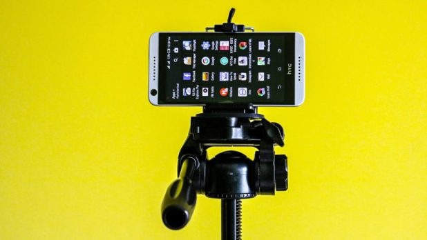 HTC phone on a tripod