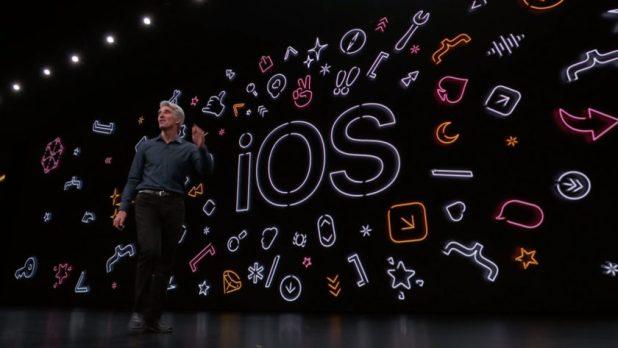 Apple WWDC 2019 iOS screen display.