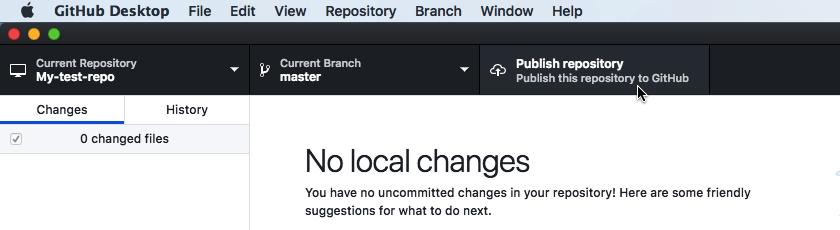 "SelectGitHub Desktop's ""Publish repository"" button"