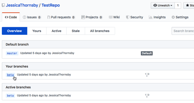 """GitHub's """"branches"""" tab reveals all the branches created for this particular project"""