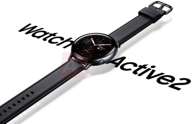 A Samsung Galaxy Watch Active 2 leaked render showing the watch on a white background.