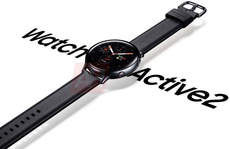 A Samsung Galaxy Watch Active 2 leaked render and shows the watch on a white background.