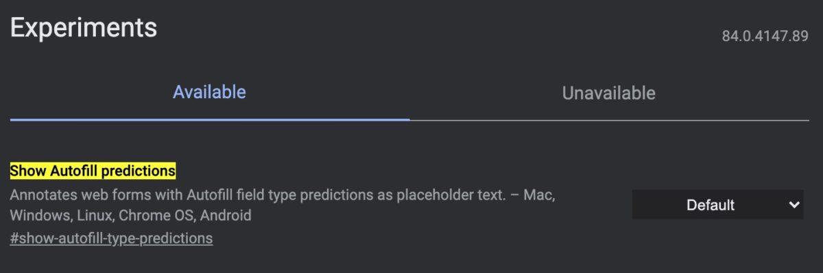 Показать прогнозы автозаполнения
