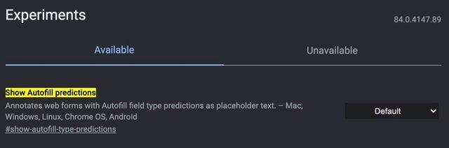 Otomatik doldurma tahminlerini göster