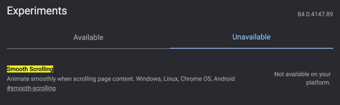 Плавная прокрутка Chrome Flags