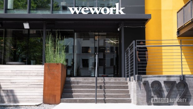 The outside entrance to WeWork.