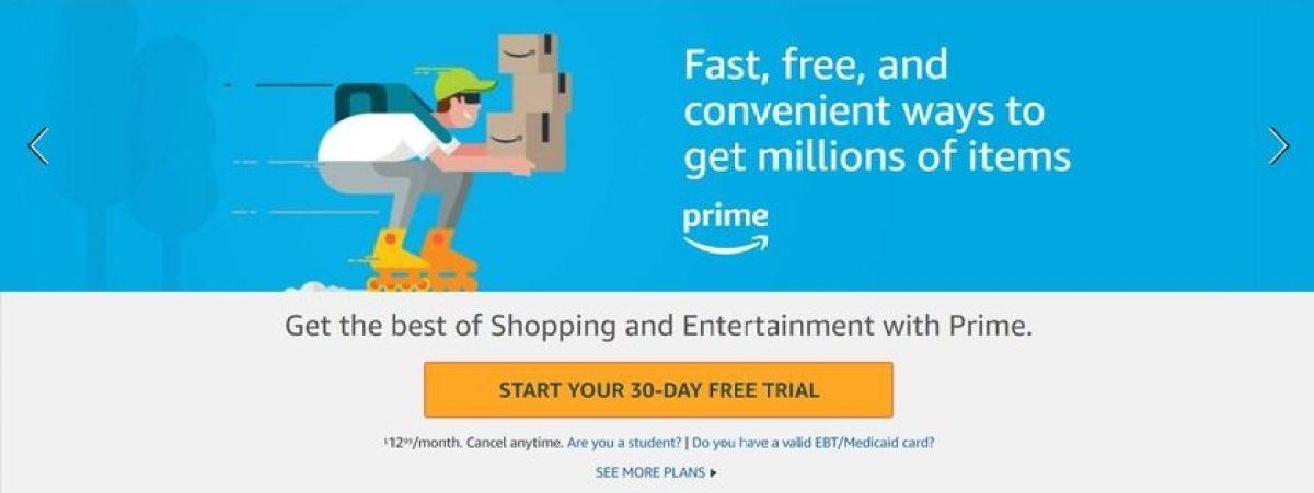 получите amazon prime бесплатно с 30-дневной пробной версией