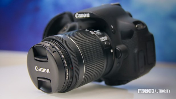 Canon camera with lens at an angle