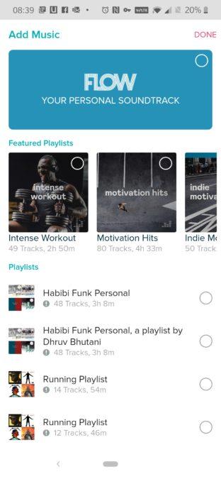 Приложение Fitbit со списком плейлистов Deezer