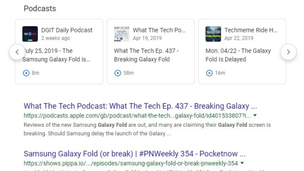 Google Podcasts Search