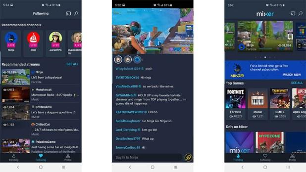 Mixer mobile UI screenshot 2019
