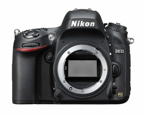 Nikon D610 front side without lens on.