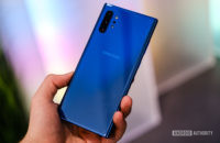 Samsung Galaxy Note 10 Plus Aura Blue back in hand