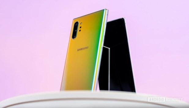 Samsung Galaxy Note 10 Plus Aura Glow back at angle