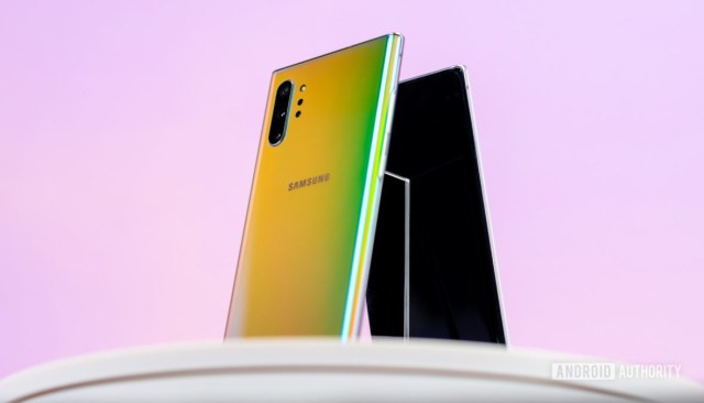 Samsung Galaxy Note 10 Plus Aura Glow back at angle